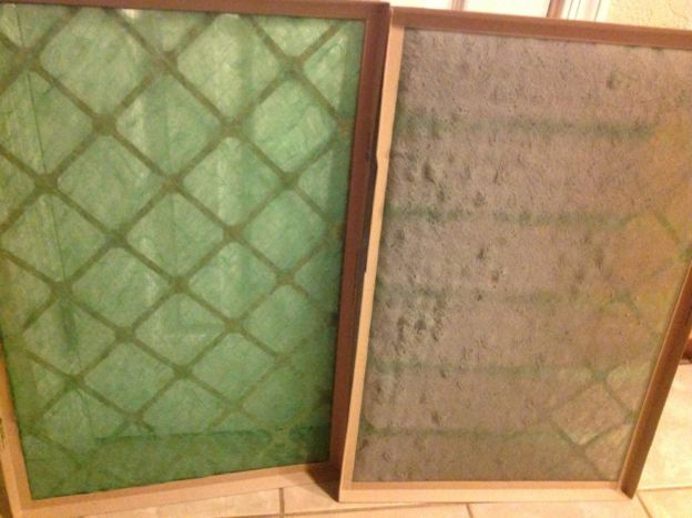 A clean air filter (left) vs. a dirty air filter (right)